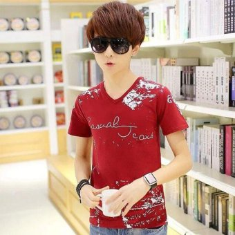 Fashion Trend Korean Men 2017 Summer Solid Color Short-sleeved Cotton T-shirt - intl
