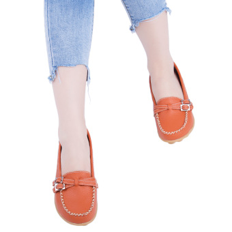 Slip On Skid Resistance Leather Breathable Flat Shoes(Jacinth) - intl