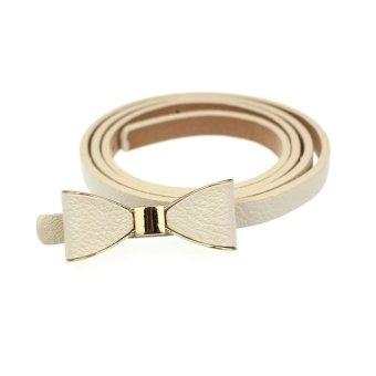 Candy Leather Women Skinny Butterfly Bow Waist Belt Waistband Beige