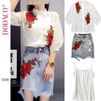 Sét Đồ Nữ 3 Món Chân Váy Bò + Áo Ren + Áo Lót Nữ Bộ Váy Thêu Hoa Phong Cách Hàn Quốc Thời Trang DODACO DDC1888 XADT SDNU S - XL C425C10556 (Trắng Xanh)