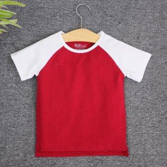 Áo thun trơn trẻ em KIDSTYLE Raglan tay ngắn thân màu(Trắng - Đỏ đậm)