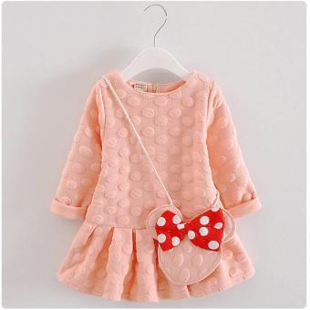 Váy Chấm Bi Kèm Túi Mickey Cho Bé Gái (Hồng)