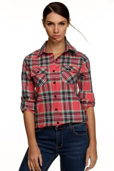 Cyber Meaneor Ladies Women Casual Long Sleeve Lapel Plaid Check Print Button Shirt Blouse Top (Pink) - Intl