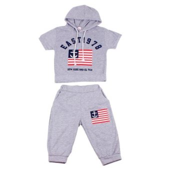 New Summer Children Clothing Boys Hooded T-shirt And Pants Suits - intl