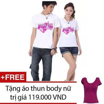 Bộ 2 áo thun cặp giá gốc ATD- AC0135 (Trắng họa tiết) + Tặng 1 áo thun body nữ