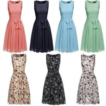 Linemart Zeagoo Women Chiffon Sleeveless A-Line Pleated Cocktail Party Dress w/ Belt ( Multicolor ) - intl