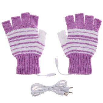 Purple 5V USB Powered Heating Heated Winter Hand Warmer Gloves Washable - intl