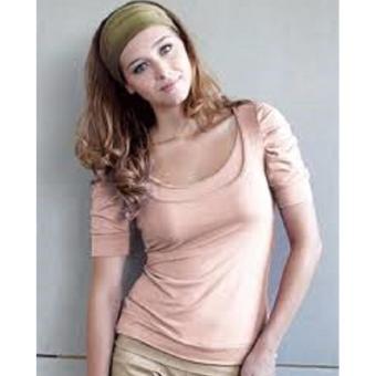 MEV Áo bầu cho con bú thun tay ngắn xếp ly Mothers En Vogue - Ruched Sleeve Tee - M - Almost Apricot
