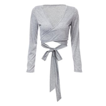 Plunging Neck Long Sleeve Pure Color Bowknot Crop Top Gray - Intl--TC