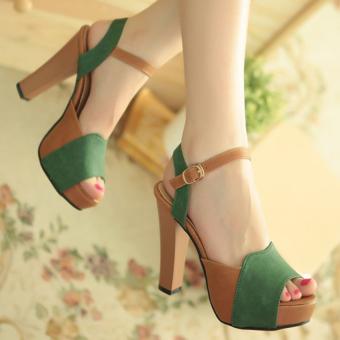 Giày cao gót h.q phối màu quý phái CG1015 (Xanh)