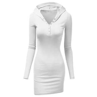 Fancyqube Tight Hip Slim Knitted Long-sleeve Dress White - intl