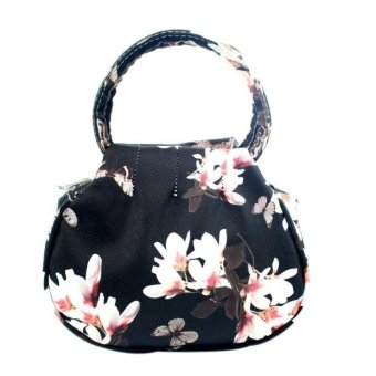 Women Floral leather Shoulder Bag Satchel Handbag Retro Messenger Bag Black - intl