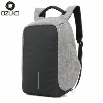 OZUKO 14 Inch Laptop Backpack External Usb Charge Backpack Waterproof Oxford Business Bags for Women Men Travel Bags School Bags (Grey) - intl