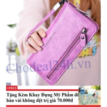 Ví cầm tay nữ nhiều ngăn CDV01 (hồng đậm) + Tặng kèm khay đựng mỹ phẩm để bàn
