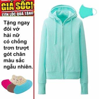 Áo khoác chống nắng cotton mịn (xanh lá) tặng kèm khẩu trang + 1 đôi tất hài chống trơn trượt