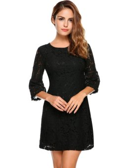Cyber Women's 3/4 Flare Sleeve Cocktail Party Floral Lace A-Line Dress ( Black ) - intl
