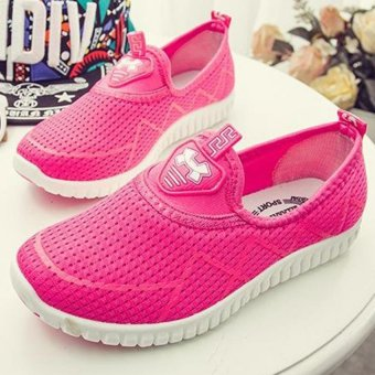 Women Casual Breathable Sneakers Fashion Mesh Soft Flat Shoes B-1 (Pink)--QQ - intl