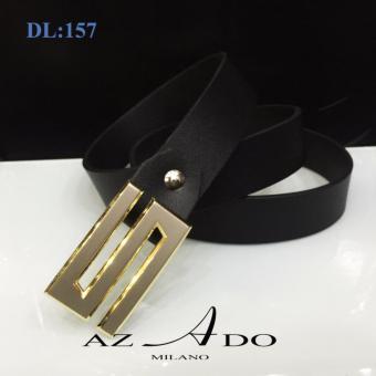 Dây lưng da bò DL:157, thời trang Azado (dây đen mặt vàng)