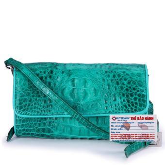 HL6264 - Túi đeo nữ da cá sấu Huy Hoàng màu xanh lá