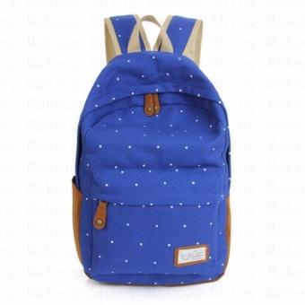 Canvas School Bag Backpack(Blue) - intl