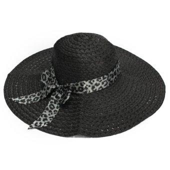Women Lady Wide Large Brim Cap Summer Hollow Beach Sun Straw Floppy Beauty Hat - intl