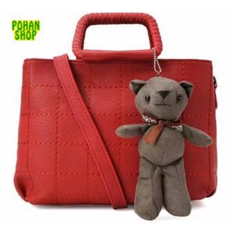 Túi xách kèm gấu Teddy POHAN TD05 (Đỏ)