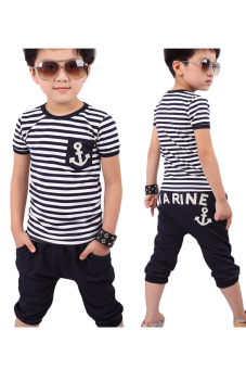 Navy Striped T-shirt And Pants Suits (Blue)