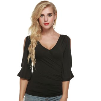 Cyber Meaneor Fashion Women Casual Faux Wrap Flare Sleeve Pullover Tops Blouse (Black) - Intl