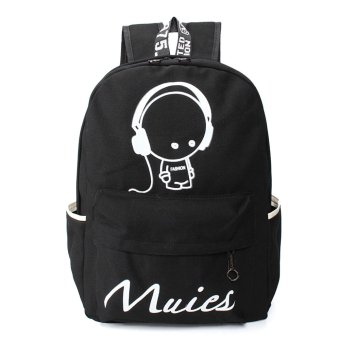 Women Girl Canvas Shoulder School Bag Backpack Satchel Rucksack Handbag Black - intl