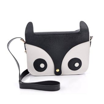 niceEshop Cute Fox Owl PU Leather Crossbody Satchel Animal Handbag,(Black)