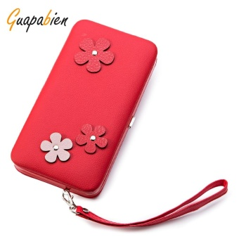 Guapabien Lovely Flower Applique Portable Clutch Women Purse Wallet(Red) - intl