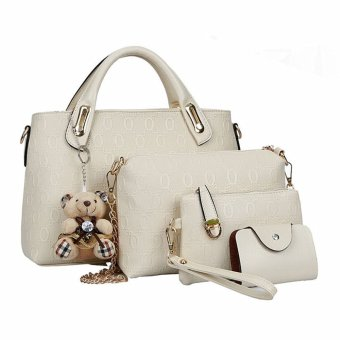 4pcs SET Borsa Donne Tracolla Bauletto Borsetta Pelle Satchel Spalla Handbag Bag Beige - Intl