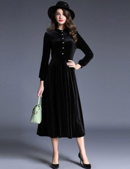 Sunweb Fashion Women Stand Collar Half Button Long Sleeve Solid Long Maxi Pleated Swing Dress ( Black ) - intl