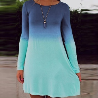 Moonar Women Casual Long Sleeve Gradient Color Loose Dress - intl