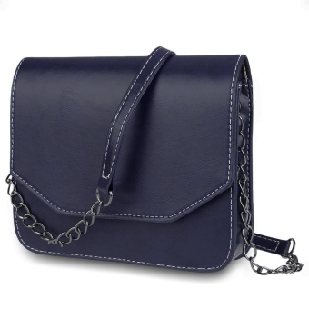 Retro Magnet Button Chain Belt Strap Solid Color Shoulder Messenger Bag for Lady - intl