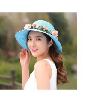 Mũ đi biển vành nhỏ đính hoa (Màu xanh da trời)