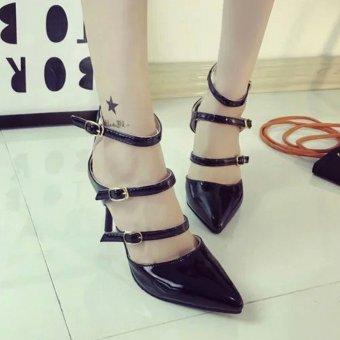 Giày cao gót 3 dây cho bạn gái thêm quyến rũ - 133 (Đen)