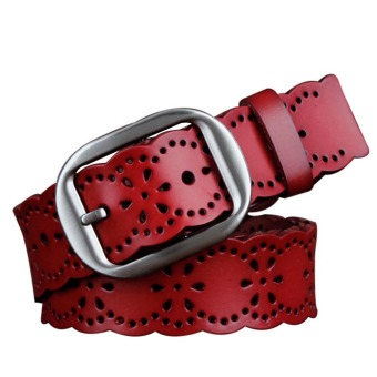 Fashion Women Lady Hollow Style Elastic PU Leather Wide Waist Buckle Jean Belt Strap Waistband Red
