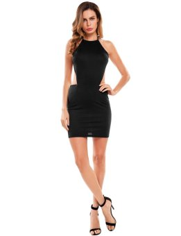 Cyber Women Sexy Backless Bodycon Club Party Mini Dress ( Black ) - intl