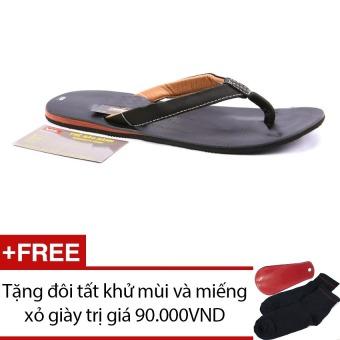 Dép nam da thật Da Giày Việt nam VNLL7ZAD41QD (Đen) + Tặng đôi tất khử mùi và miếng xỏ giày