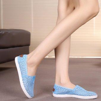 Giày Slip On Nữ Thời Trang Mai Hoa (Xanh)