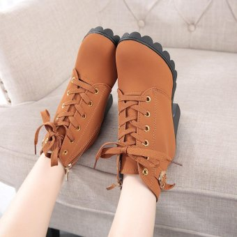 Womens Fashion High Heel Lace Up Ankle Boots Ladies Buckle Platform Shoes - intl