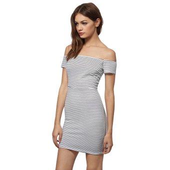 One-Step Striped Horizontal Collar Dress (Zebra-Stripe) - Intl