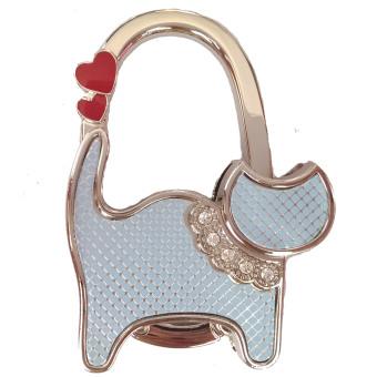 Móc treo túi xách hình chú mèo đeo nơ (Xanh lam)