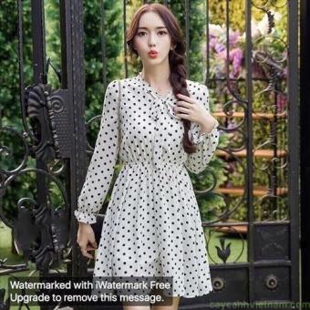 Đầm xòe dễ thương chấm bi tay dài thắt nơ | Đầm xòe đẹp