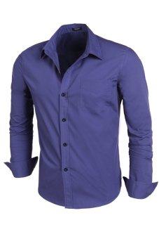 Cyber Men Slim Long Sleeve Turn-down Neck Single Breasted Casual Shirt (Dark Blue) - intl