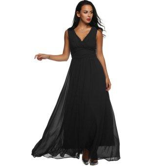 Cyber ANGVNS Women V Back Drape Ruched Waist Evening Party Dress Long Maxi Chiffon Dress (Black) - Intl - Intl