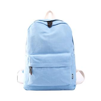 Women Canvas School Bag Girl Backpack Travel Rucksack Shoulder Bag Light blue (Intl)