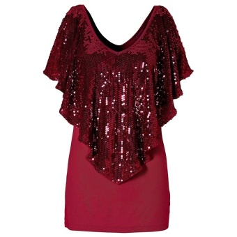 sequin stitching stretch top woman sexy V-neck T-shirt red--TC--TC - intl