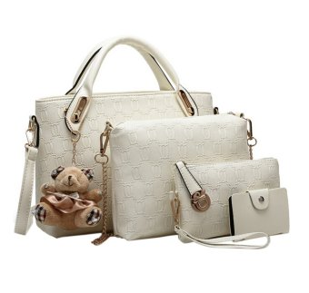 niceEshop Women Tote Shoulder Bag Pu Leather Handbag Set (White) - Intl